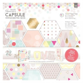 "Papierblock - Capsule Collection - Geometric Neon - 12"" x 12"" - 36 Blatt"