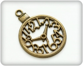 Metal charms set SURREAL CLOCK - Metall Uhr - 5 Stück