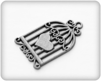 Metal charms set CAGE WITH THE HEART SILVER - Metall Käfig silber- 10 Stück