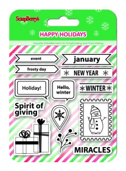 Set of stamps 10,5*10,5cm Happy holiday. Spirit of giving