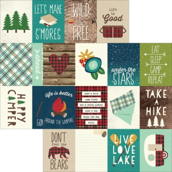 Designpapier Simple Stories - Cabin Fever - 3x4 Journaling Cards, 30,5 x 30,5 cm