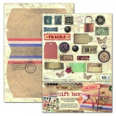 Designpapier gestanzt Set Vintage Gift Box Post Card