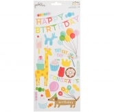 "Pebbles stickers happy hooray - birthday wishes - 6""x12"" - 52 Stück"