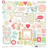 "Websterspages Chipboard Sticker Board – Growing Up Girl - 12""x12"""