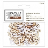 Alphabet Packung Selbstklebend Aus Holz - Capsule Collection - Elements Wood - 81 Stück