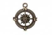 Metal charms set COMPASS - Metall Compass - 10 Stück