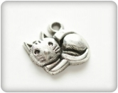 Metal charms set LITTLE KITTEN silver 10 Stück