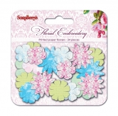 Papierblumen - Paper printed blossoms Flower Embroidery
