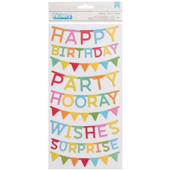 "Pebbles thickers happy birthday hooray chipboard 6""x12"" - 18 Stück"