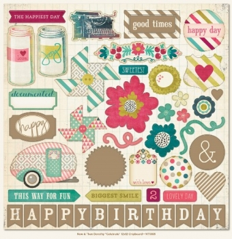 "Now & Then: 12""x12"" Chipboard Elements - Happy Birthday"