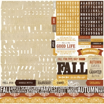 "Reflections Fall Alpha Sticker - 12""x12"" Sticker Sheet"