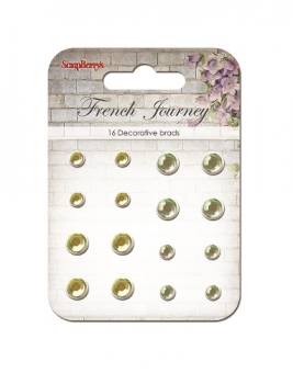 "Set of brads ""French journey"", yellow, green"