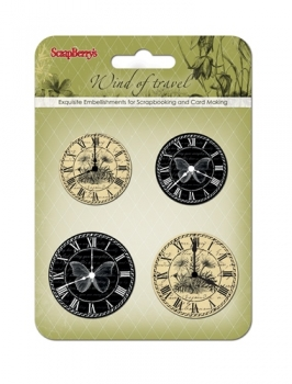 "Set of clock ""Wind of Travel"", black and beige"