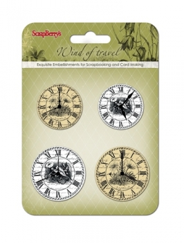 """Set of clock """"Wind of Travel"""", white and beige"""