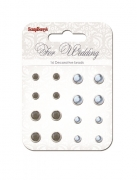 "Set of brads ""For Wedding"", grey, blue"