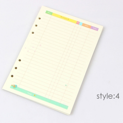 Planner A5 - 6 Holes Loose Leaf Refill Paper Pages - Financing - 45 Sheets