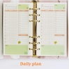 Planner A5 - 6 Holes Loose Leaf Refill Paper Pages - Daily Plan - 45 Sheets