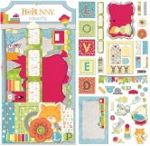 Bo Bunny die cuts - toy box boys - noteworthy - 42 Stück