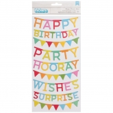 Pebbles thickers happy birthday hooray chipboard 6