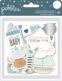 Pebbles embellishments ephemera - Night Night - baby boy silver - ca 40 Stück