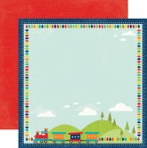 Echo park double sided paper 30,5x30,5cm - scoot trains